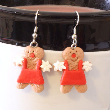 Gingerbread Chef Baker Red Apron Repurposed Christmas Ornament Earrings - Womens Jewelry - Holiday Earrings - Cookie Earrings