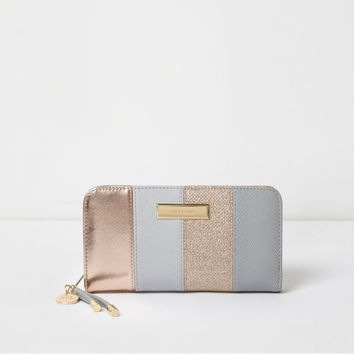 Grey and rose gold panel zip around purse - Purses - Bags & Purses - women