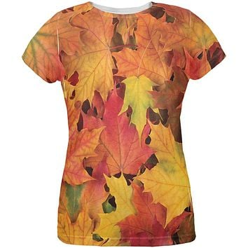 Autumn Fall Leaves All Over Womens T-Shirt