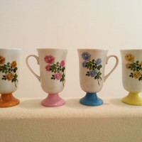 Set of Boho Chic Coffee Cups, Colored Roses, Handled Tea Cups Made in Japan, Free US Shipping