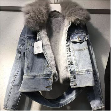 Trendy QLZW 2018 New Winter Clothes Fur Collar Inner With Hairs Denim Jacket Spliced Single Breasted Female High-end Warm Coat WB56505L AT_94_13