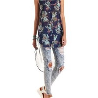 Floral Button-Up Chiffon Maxi Top by Charlotte Russe