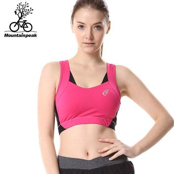 Mountainpeak 2017Summer Style Women Polyester Stretch Athletic Vest Gym Fitness Sports Bra No Rims Full Cup Padded Bras Colorful