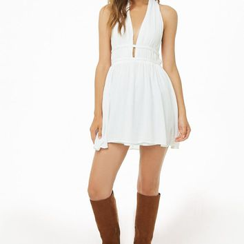 Crochet-Back Mini Halter Dress