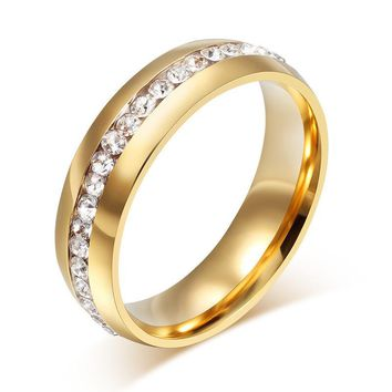 New Arrival Crystal Ring 6mm 18k Gold Plated Wedding Bra