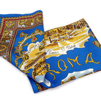 Vintage Roma Souvenir Scarf . Rome, Italy . Blue and Gold Square Scarf .