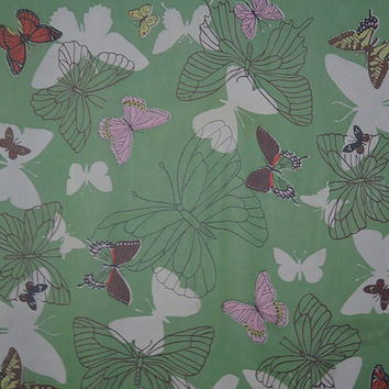 Vintage Butterflies Silk Scarf, 1960s Sheer Green, Large 33 inches 'Top Hit Fashion' by Baar & Beards