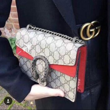 Gucci Hot Sale Women Leather Metal Chain Crossbody Satchel Shoulder Bag