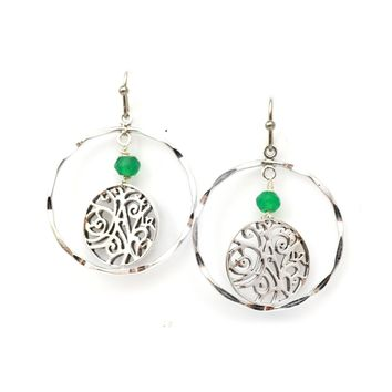 Sterling Silver Hammered Circle and Filigree Earrings