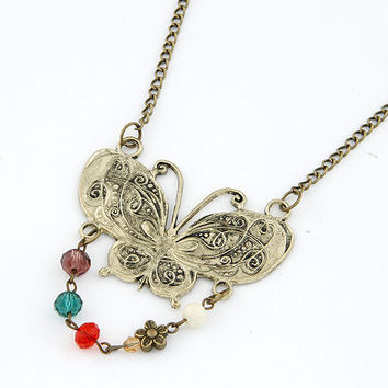 Retro All-matching Bronze Butterfly-shaped Sweater Chain, Party Jewelry, Clothing Accessory, Birthday Gifts, Valentine's Day Gift 11041263