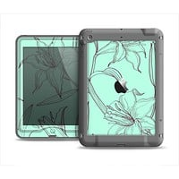 The Teal & Brown Thin Flower Pattern Apple iPad Mini LifeProof Nuud Case Skin Set