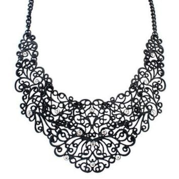New Arrival Jewelry Shiny Stylish Gift Hollow Out Vintage Metal Diamonds Necklace [6573101895]