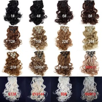 "18""(45cm) 130g Long Wavy/Curly Synthetic Clip In Hair Extensions pieces 7pcs/set"