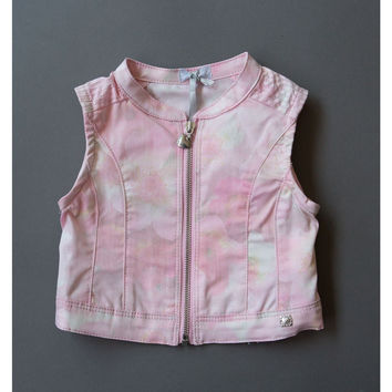Fun&Fun - Baby Girl Pink Flowers Vest with Zipper