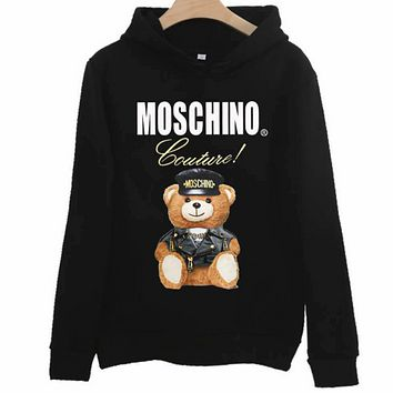 Moschino autumn and winter classic bear print loose hooded couple hooded sweater black