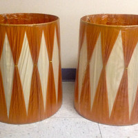 Vintage Pair NOS Mid Century Burnt Orange and White Gathered Lamp Shades