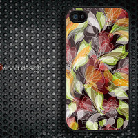 Case for black iphone 4 case iphone 4s case iphone 4 cover illustrator classic  flower design printing