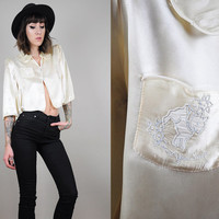 "Satin vtg 50's cropped LINGERIE pajama shirt EMBROIDERED ""Count your sheep"" blouse Bed jacket • small"