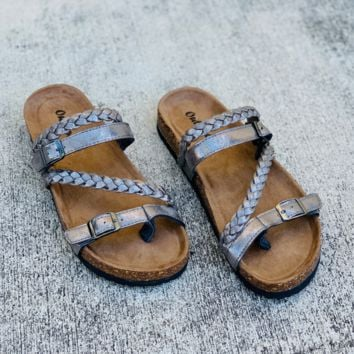 Braided Strap Pewter Footbed Sandals