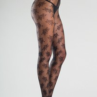 Be Wicked Floral Design Sheer Tights with Gusset