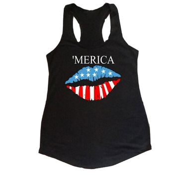 Women Tanks 'Merica American Flag Lip Printed Tops O-Neck Sleeveless Crop Top Summer 2017 Sexy High Quality Casual Loose  Girls