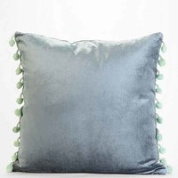 Plum & Bow Square Velvet Pillow - Green One