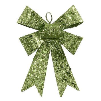 ONETOW 5' Lime Green Sequin and Glitter Bow Christmas Ornament