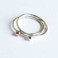 Set of 2 Silver Stacking Rings - Tiny Copper & Silver Dot Ring - Thin Hammered Silver Rings - Trendy Silver Ring