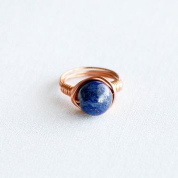 Wire Wrapped Ring - Lapiz Lazuli Ring - Lapiz Lazuli Stone Ring - Beaded Wrapped Ring - Wire Wrapped Jewelry - Boho Ring - Copper Ring