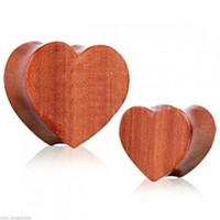 "PAIR-Wood Red Cherry Heart Double Flare Plugs 19mm/3/4"" Gauge Body Jewelry"