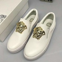 2018 Hot!Versace Fashion Men Casual Pure White Metal Buckle Slip-On Leather Flats Shoe Sneakers I-CSXY