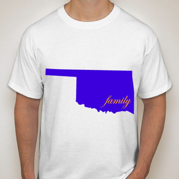 Robinson Family Home is Where the Heart is Oklahoma Hanes Tagless T-Shirt available in 4 colors and various sizes, including youth sizes.