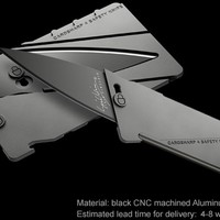 Cardsharp4: black metal credit card folding knife