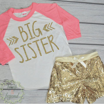 Big Sister Shirt Big Sister Announcement Outfit Raglan Shirt and Gold Sequin Shorts Big Sister Toddler Shirt Photo Prop for Siblings 015