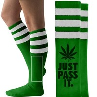 don't hog the bud striped weed socks