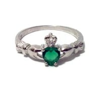 Sterling Silver Petite .50 ct. Emerald CZ Claddagh Ring Size 1-9