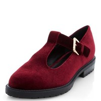 Dark Red Velvet T-Bar Pumps
