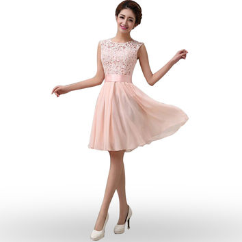 Elegant Sleeveless O-Neck Vestidos Dress