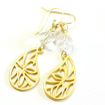 Womens Gold Charm Earrings - leaf and crystal Fashion Earrings - Womens Jewelry - Prom Formal Dangle Earrings - Bridesmaid Bride Jewelry