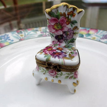 Limoges French Porcelain Trinket Box Hand Painted Chair Vintage Collectible