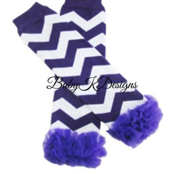 Baby Leg Warmers. Chevron Striped Legwarmers. Baby Girls Chiffon Ruffle Legwarmers. Purple n White Dance Birthday Dress Up Ballet
