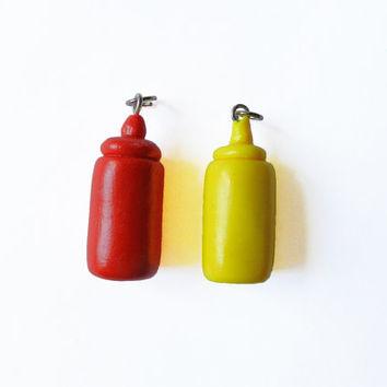 Ketchup and Mustard Charms - Polymer Clay Charm - Friendship Charms - Food Charm  - Kawaii Charm - BFF Charms - Polymer Clay Food