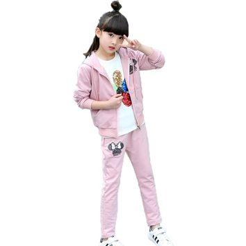 Girls Clothing Sets 2017 Kids Girls Set Clothes Mickey Ears Baby girls Sports Sets Children Clothing Sets For Girls