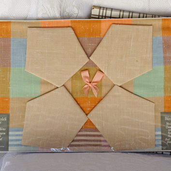 Beautiful Soft Pastel Dunmoy Vinage Tablecloth and Napkin Set in original Box Checkered and Striped Pattern in peach apricot mint green blue