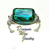 DWJ0334 Beautiful Czech Glass Teal Picasso Silver Wire Wrapped Ring All Sizes