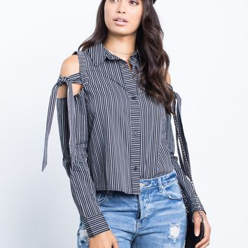 Bold Ties Striped Blouse