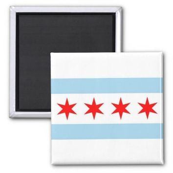 Magnet with Flag of Chicago, Illinois State - USA