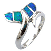 opal jewelry RING with cz stone;fashion opal rings Whale tail rings OR101