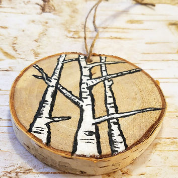 Rustic Birch Ornaments, Original Birch Tree Painting on Birch Wood Slice, Hung w/ Twine, Holiday Rustic Decor, Tree Ornament, Woodland Decor