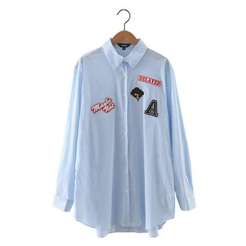 Women cute letters badge patch striped shirts long sleeve turn down collar loose blouse ladies office wear tops